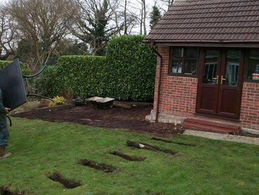 New Path Steps Turf and Flower Beds